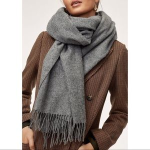 Accessories - Gray Fringe Large Scarf